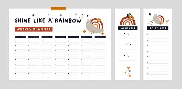 Еженедельный планировщик с милой улиткой и радугой и рисованной элементами. список желаний, список дел Premium векторы