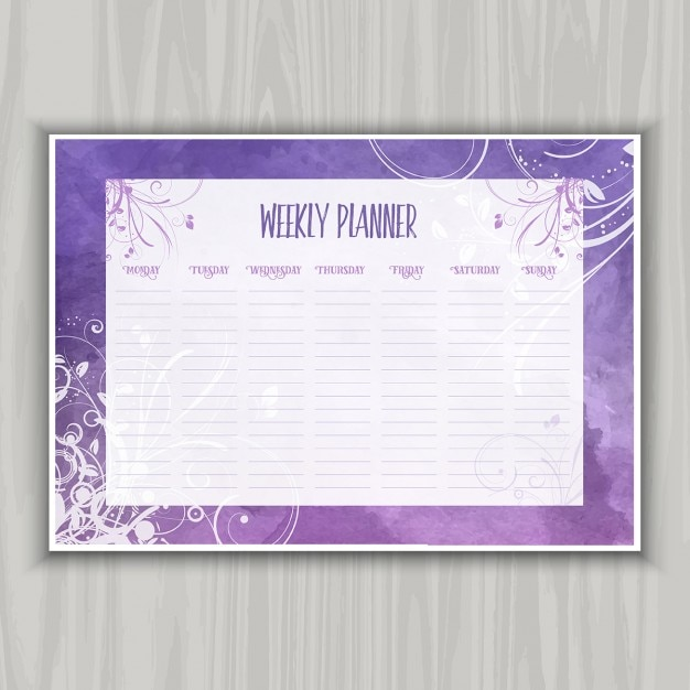 Weekly planner with floral watercolor design