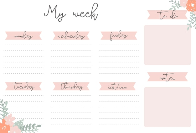 Weekly Planner With Flowers, Stationery Organizer For Daily Plans, Floral  Vector Weekly Planner Template  Free Daily Planner Download