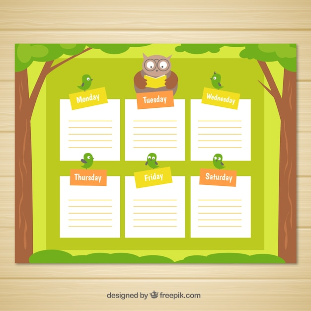 Weekly planner with owl and little birds
