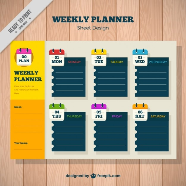 Calendar Planner Vector Free : Weekly planner with paper notes vector free download