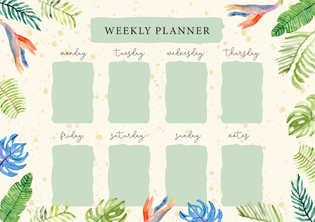 Weekly planner with tropical summer floral watercolor Premium Vector