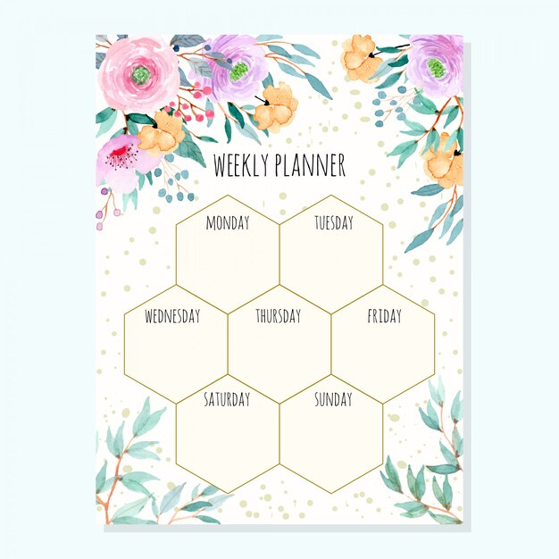 Weekly planner with watercolor floral green leaves Premium Vector