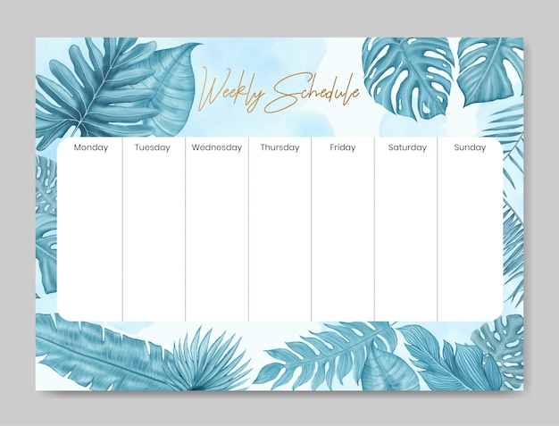 Weekly schedule template with floral design Premium Vector