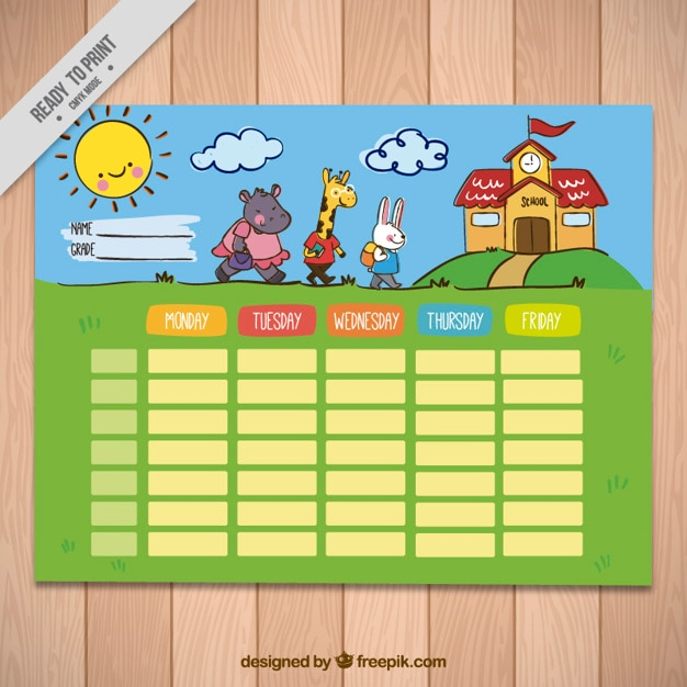 Weekly schedule with nice animals for elementary students Free Vector