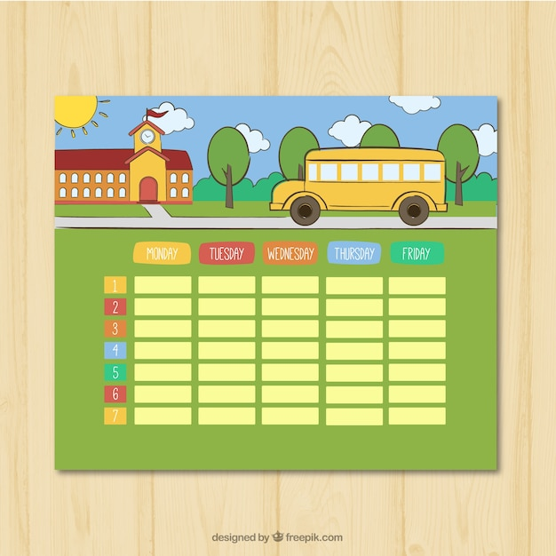 Weekly Schedule With School And Bus Background Vector