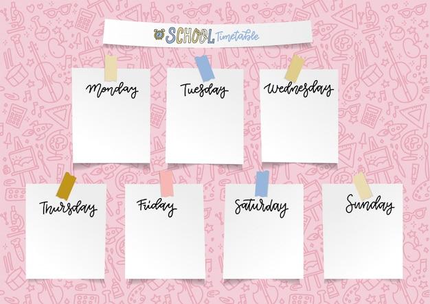 Еженедельный шаблон школьного планировщика для девочек. организатор и расписание с пустыми наклейками notes. Premium векторы