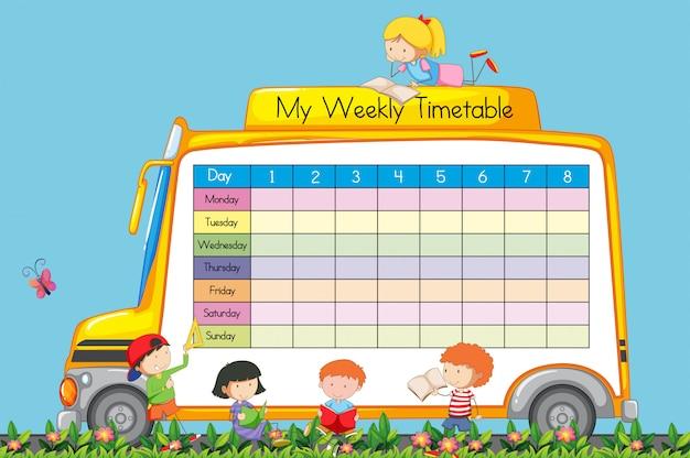 Weekly timetable on school bus theme Premium Vector
