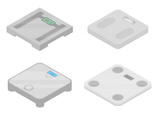 Набор иконок весы, изометрический стиль Premium векторы