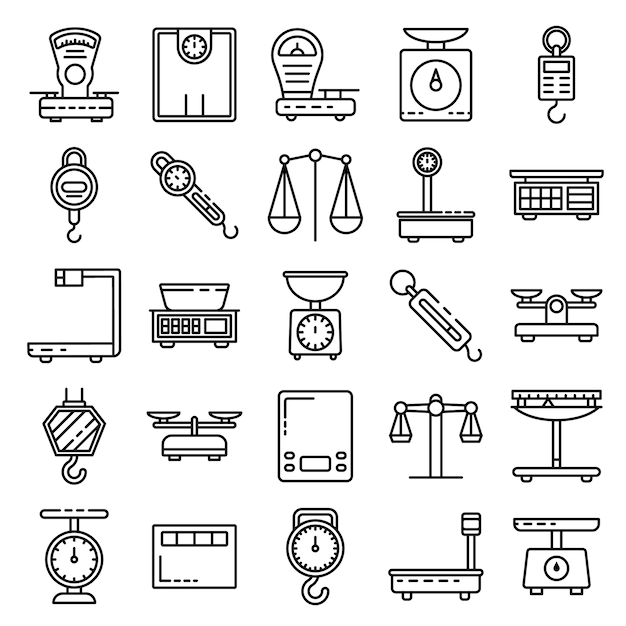 Weigh scales icons set, outline style Premium Vector