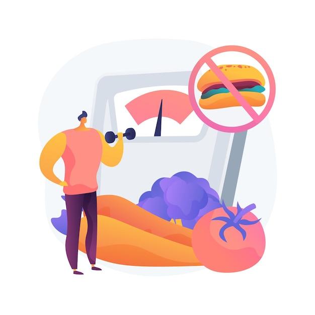 체중 감량 다이어트 추상적 인 개념 그림입니다. 저탄수화물 다이어트, 건강 식품, 고단백 메뉴 아이디어, 음료수, 건강 레시피, 식사 계획, 신체 변형 무료 벡터