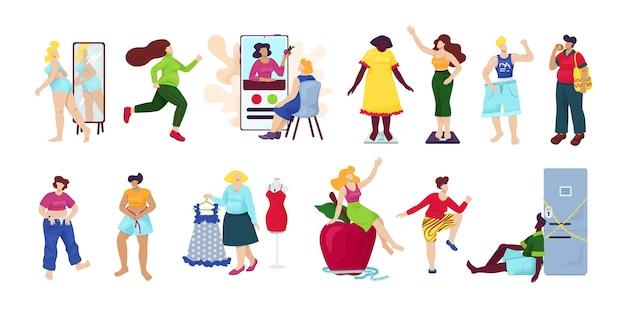Потеря веса, диета набор изолированных. полные женщины стали худыми. идея фитнеса и здорового питания. процесс похудания. женщина с большим животом, человек страдает ожирением. Premium векторы