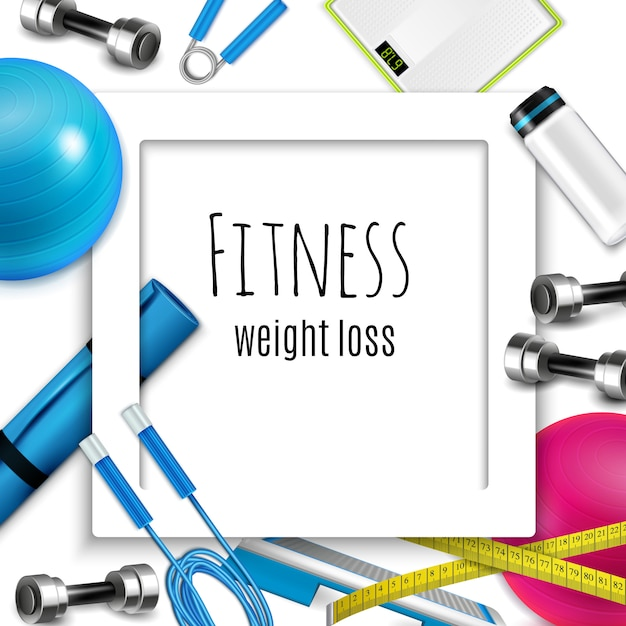 Weight loss fitness realistic frame Free Vector