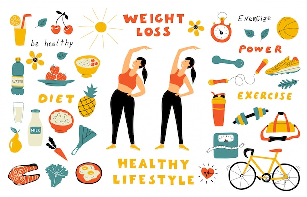 Weight Loss Healthy Food Cute Doodle Set With Lettering Cartoon Woman Before And After Diet Hand Drawn Flat Illustration Premium Vector