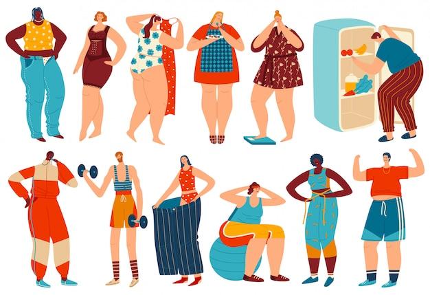 체중 감량 일러스트, 다이어트 및 피트니스 스포츠 운동 후 지방을 잃고 만화 과체중 비만 여성 남자 캐릭터 세트 프리미엄 벡터
