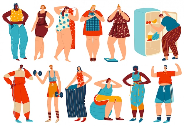 Weight loss  illustration, cartoon overweight obese woman man character losing fat after diet and fitness sport exercises  set Premium Vector
