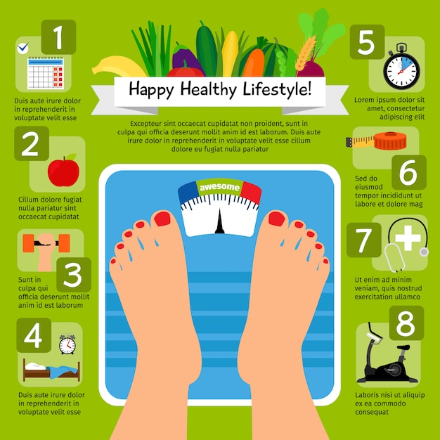 Weight loss scale concept Premium Vector