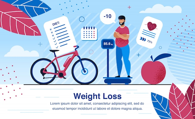 Weight loss strategy planning flat  banner Premium Vector