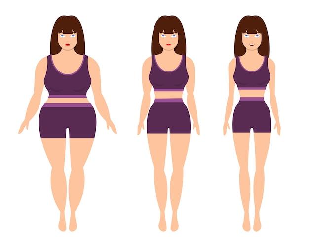 체중 감소 여자는 흰색 배경에 고립 프리미엄 벡터