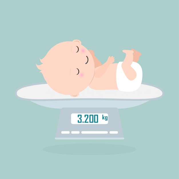 Weight scale for infant Premium Vector