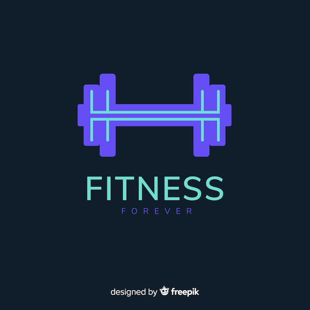 Weight silhouette fitness logo flat design Free Vector