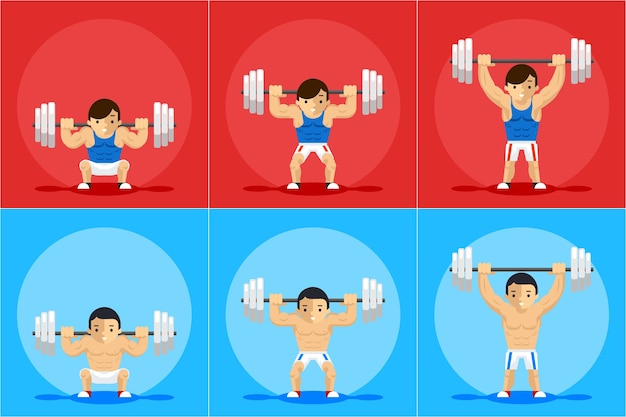 Weightlifting animation character. sport training, barbell and strength, order and manual Free Vector
