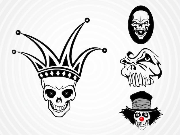 Weird dead skulls vector pack Free Vector