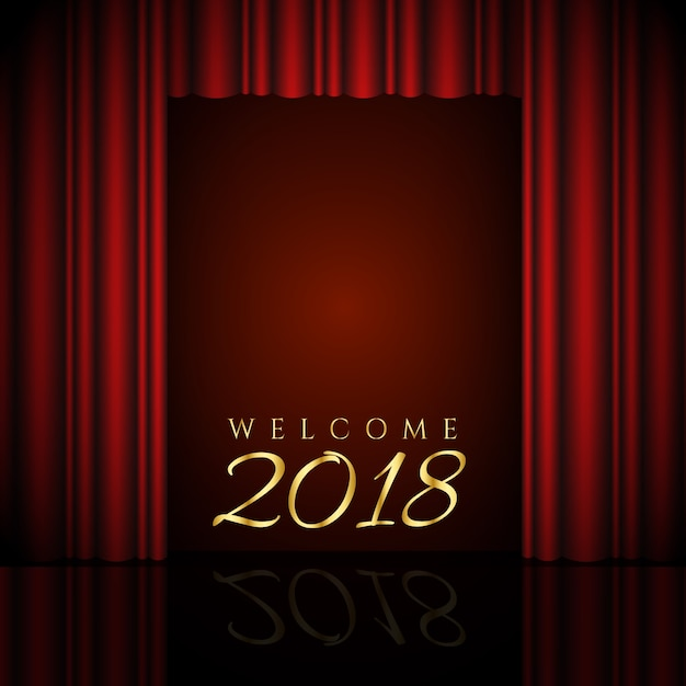 Welcome 2018 Design With Red Curtains Vector Free Download