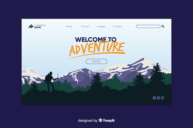 Welcome to adventure landing page Free Vector