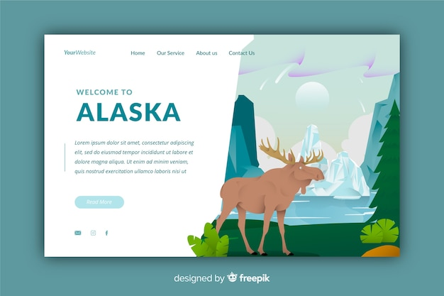 Welcome to alaska landing page Free Vector
