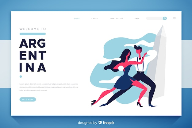 Welcome to argentina landing page flat design Free Vector