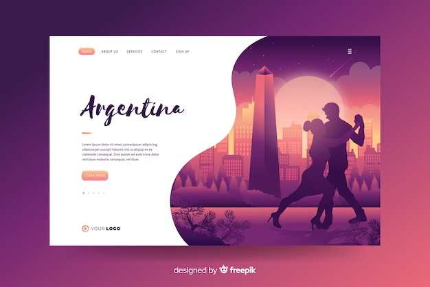Welcome to argentina landing page Free Vector