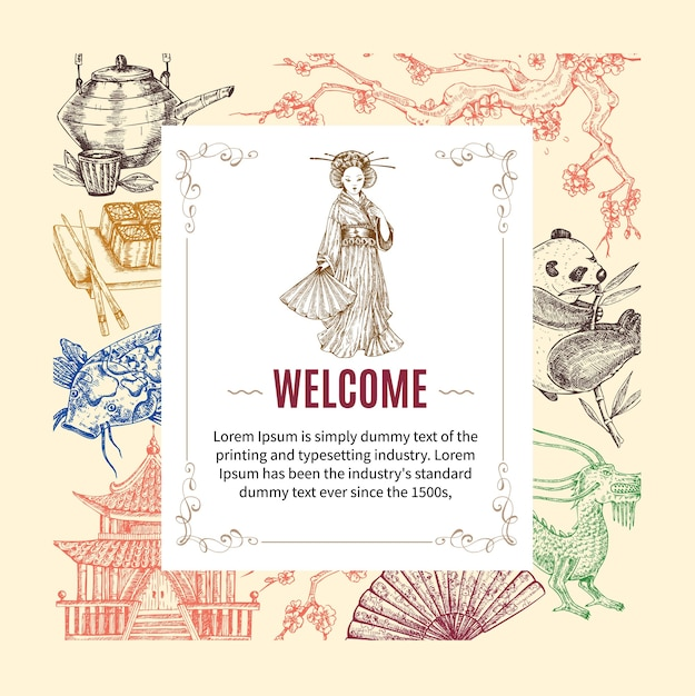 Welcome to asia invitation Free Vector