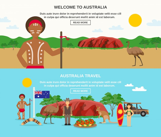 Welcome to australia banners Free Vector