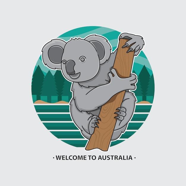 Welcome to australia icon koala Premium Vector