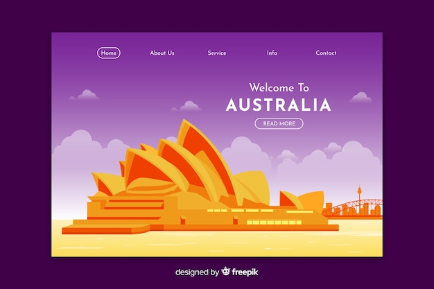 Welcome to australia landing page template Free Vector