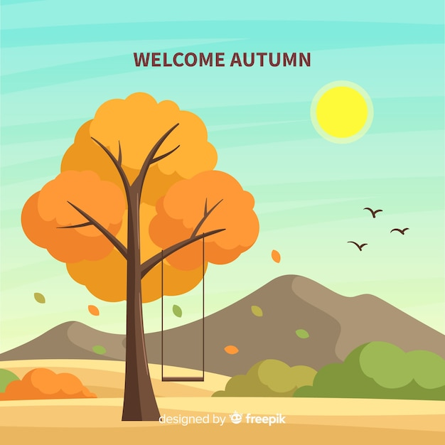Welcome autumn background Free Vector