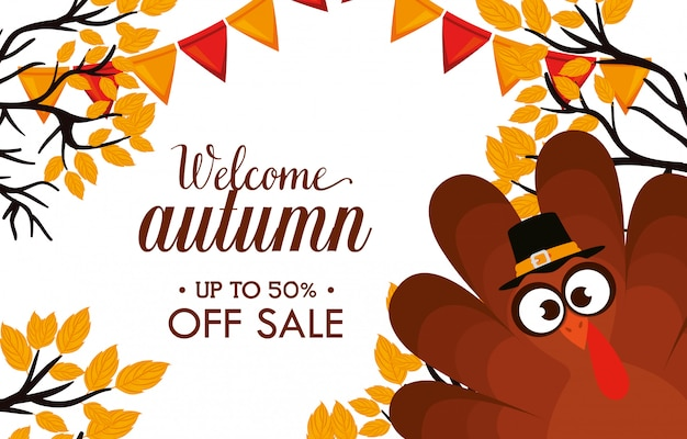 Welcome autumn day sale Free Vector