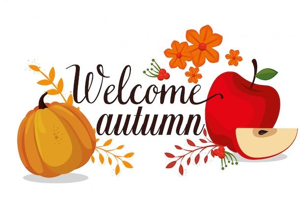 가을 계절 카드 환영 무료 벡터