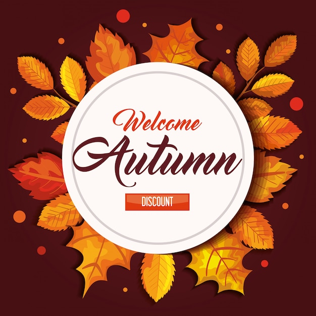 Welcome autumn with seal and leaves banner Free Vector