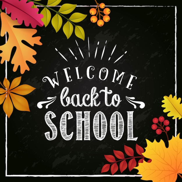 Welcome back to school in autumn season poster design | Premium Vector