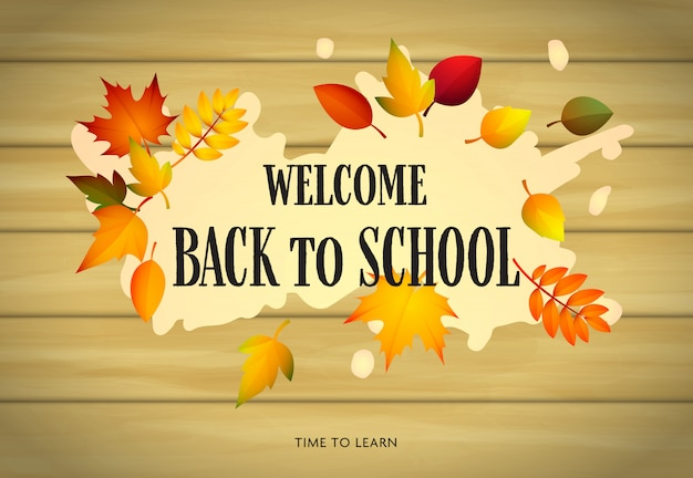 Welcome back to school, autumn theme Free Vector