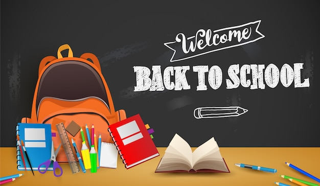 Welcome Back To School Background Poster And Template Premium Vector
