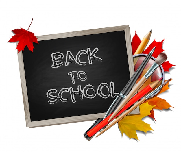 Welcome back to school background. school items and elements. Premium Vector
