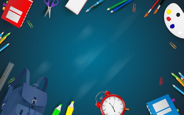 Welcome Back To School Background Premium Vector