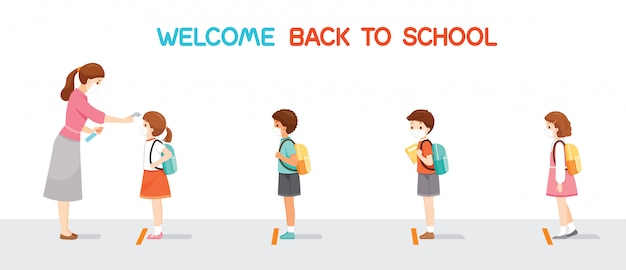 Welcome back to school, children wearing surgical mask in a row, teacher measuring body temperature of student before entering school Premium Vector