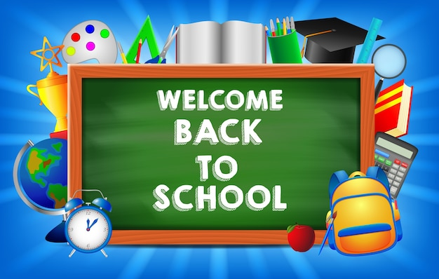 Welcome Back To School Concept Background Illustration Premium Vector