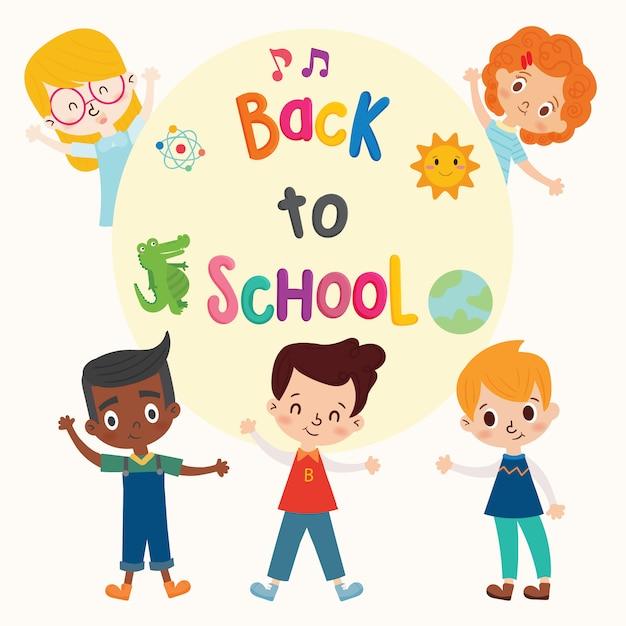 Welcome Back To School Cute School Kids Premium Vector