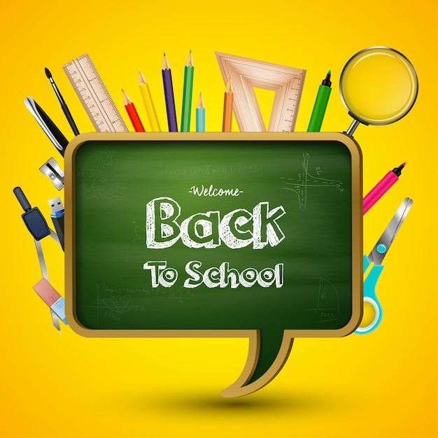 Welcome back to school greeting Premium Vector