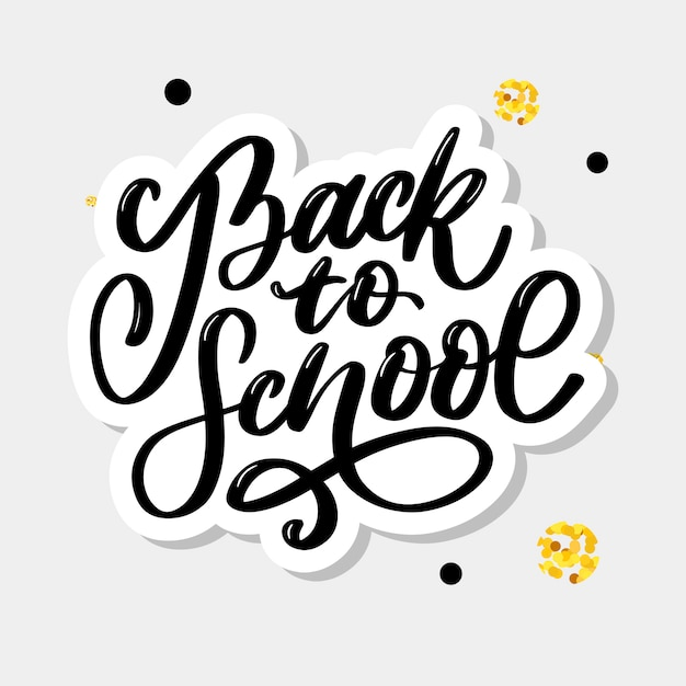 Welcome back to school hand brush lettering, on notepad crumpled paper background, with black thick backdrop.  illustration. Premium Vector